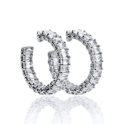 Asscher Cut Inside/Out Hoop Earrings – 12 CTW