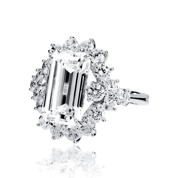 Emerald Cut Cocktail Ring with Round Accents