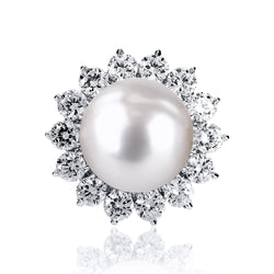 Pearl Cocktail Ring with Round Accents