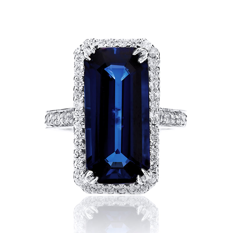 Emerald Cut Sapphire Halo Cocktail Ring