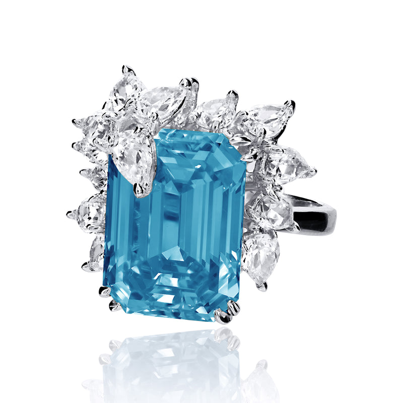 Emerald Cut Aquamarine Cocktail Ring with Pear Shaped Accents