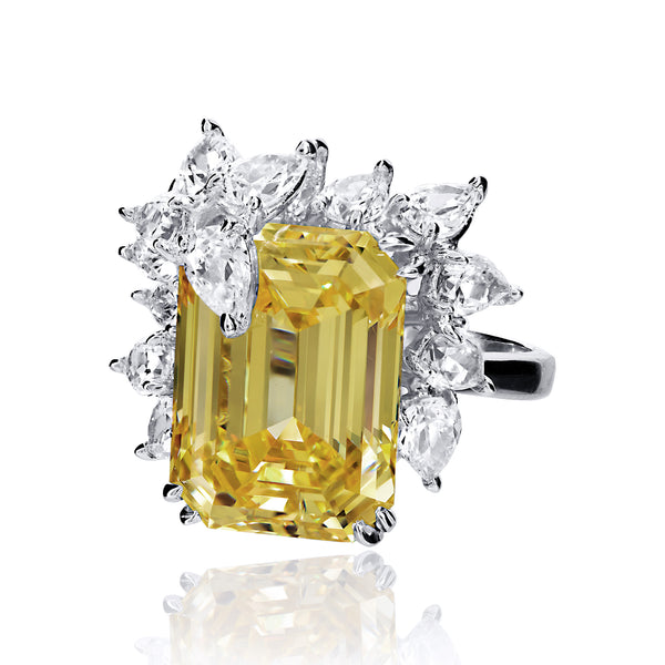 Emerald Cut Canary Cocktail Ring with Pear Shaped Accents