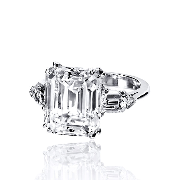Asscher Cut Ring with a Duet of Bullet Accents - 7 CTW