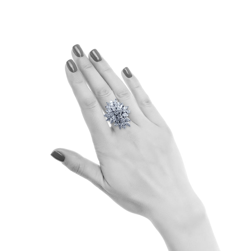 Marquise and Round Cut Cluster Cocktail Ring