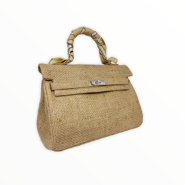 Caffe Jute Top Handle Bag