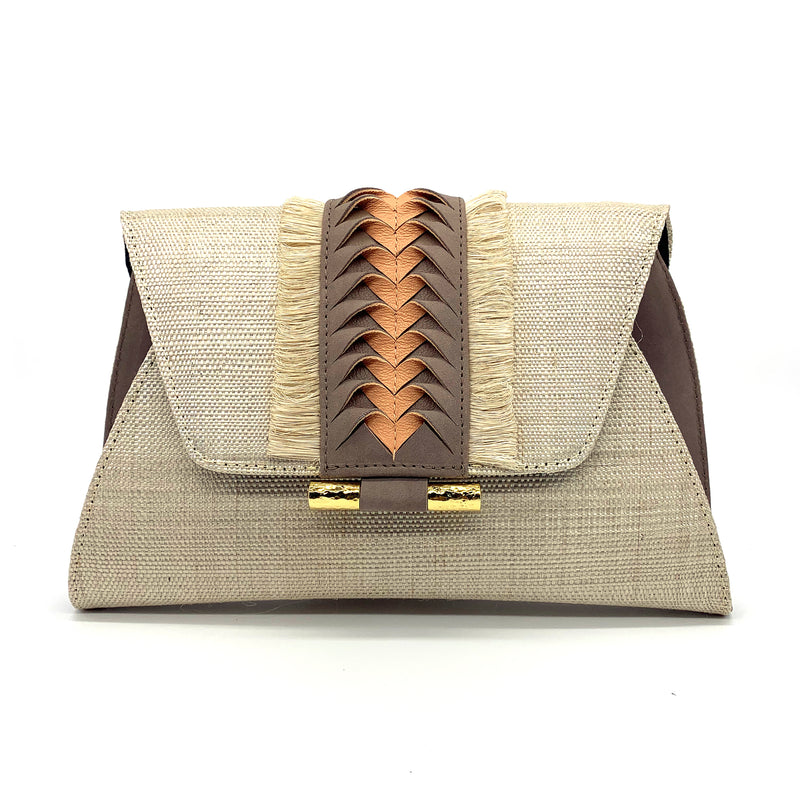 Victoria Fringed Clutch - Natural