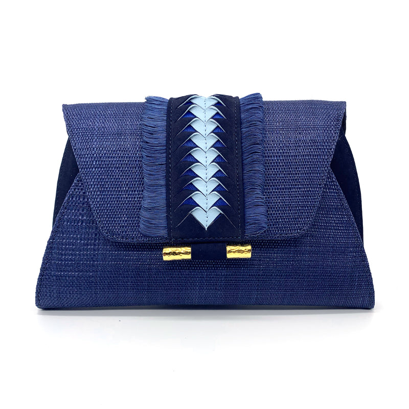Victoria Fringed Clutch - Dark Blue
