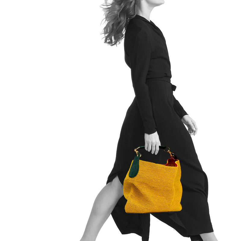 Telio Fique Tote Bag - Yellow/Green