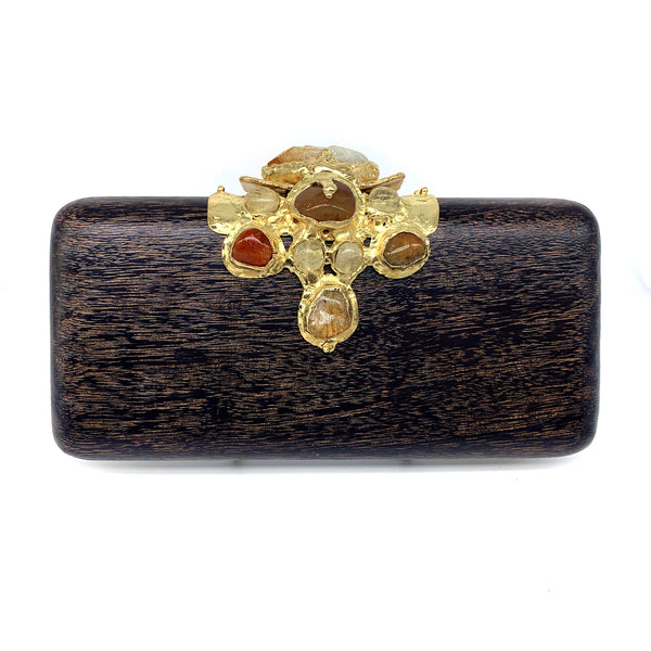 Kaleidoscope - Hand Carved Mahogany and Citrine Clutch