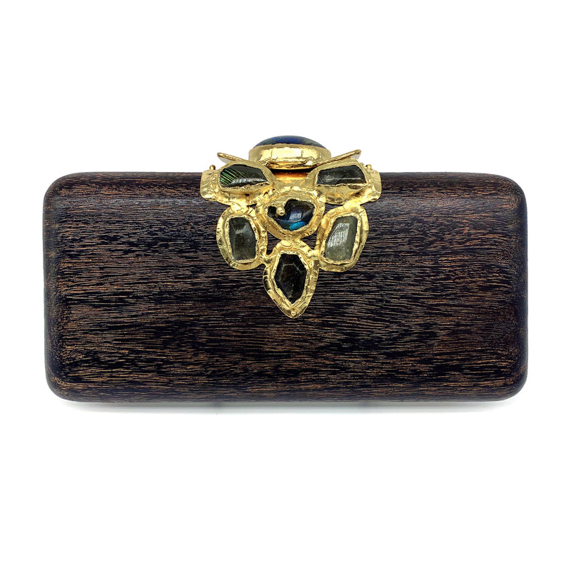 Kaleidoscope - Hand Carved Mahogany and Labradorite Clutch