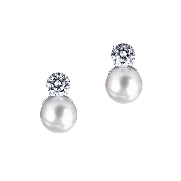 Pearl Earrings with Round Cut Stone - White/Grey
