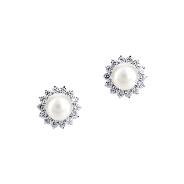 Pearl Studs with Round Floral Cluster - White/Grey