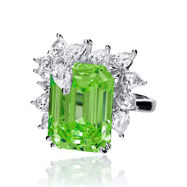 Emerald Cut Peridot Cocktail Ring with Pear Shaped Accents