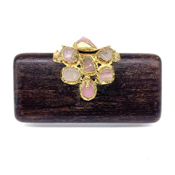 Kaleidoscope - Hand Carved Mahogany and Pink Quartz Clutch