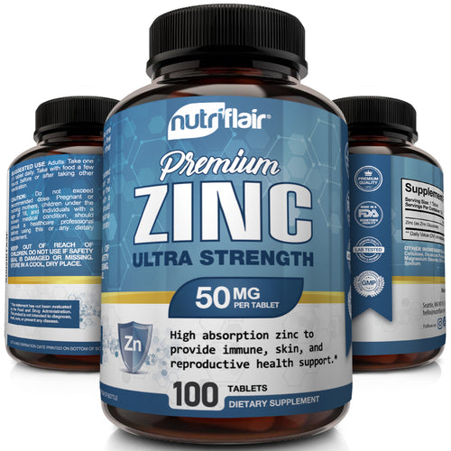 NutriFlair - Zinc Gluconate 50mg -100 Tablets - NutriFlair