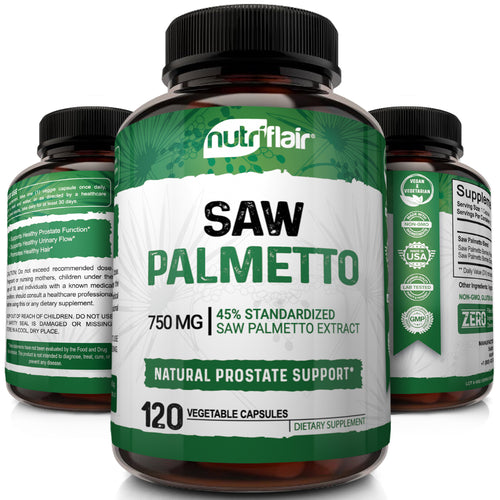 NutriFlair Premium Saw Palmetto Berry Extract 750mg, 120 Capsules - NutriFlair