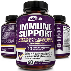 Immune Support with Vitamin C, Elderberry, Echinacea, Probiotics - 60 Capsules - NutriFlair