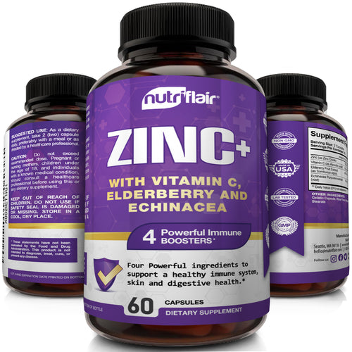 Zinc+ with Vitamin C, Elderberry, Echinacea - 60 Capsules - NutriFlair