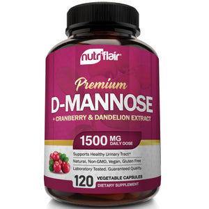 NutriFlair - D-Mannose with Cranberry & Dandelion Extract - 120 Capsules - NutriFlair
