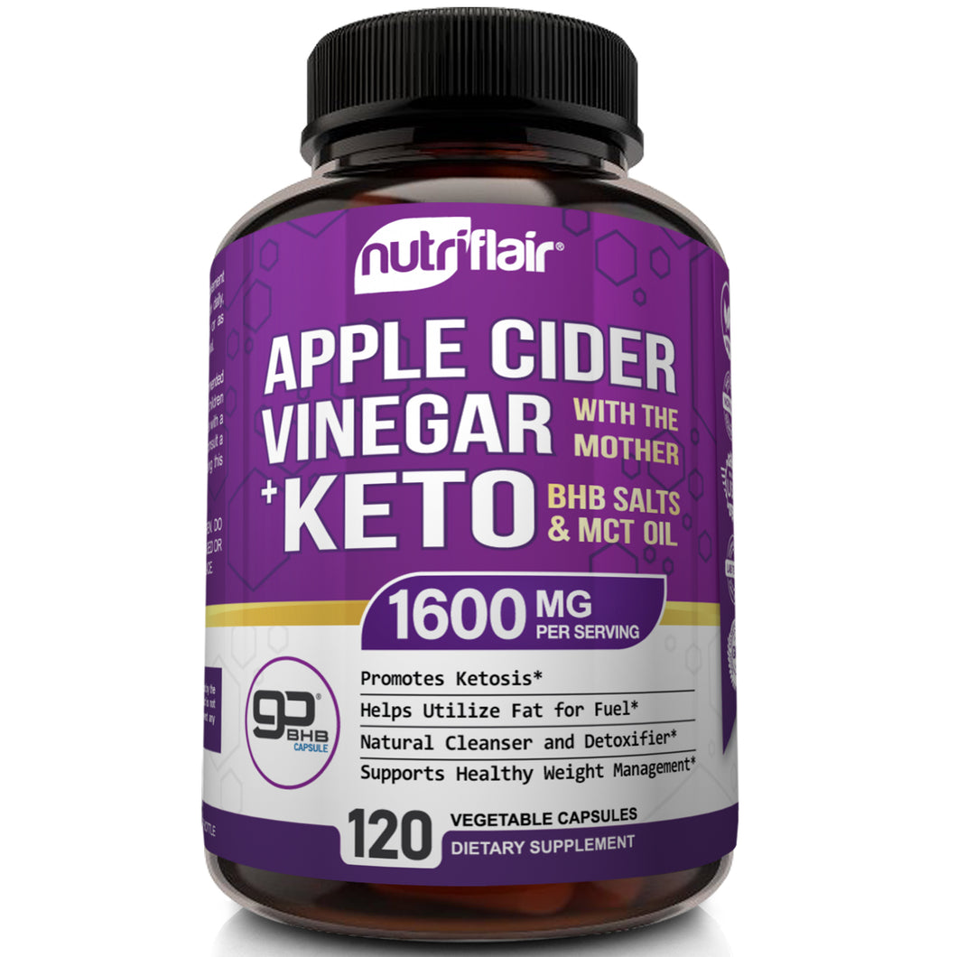 ACV with the Mother & GoBHB® Keto BHB Salts 1600mg - 120 Capsules - NutriFlair