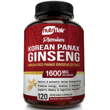Korean Red Panax Ginseng 1600mg - 120 Capsules - NutriFlair