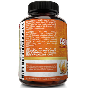 Organic Ashwagandha and Black Pepper 1600mg - 120 capsules - NutriFlair