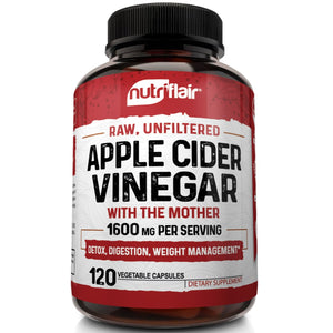 NutriFlair - Apple Cider Vinegar with the Mother 1600mg - 120 Capsules - NutriFlair