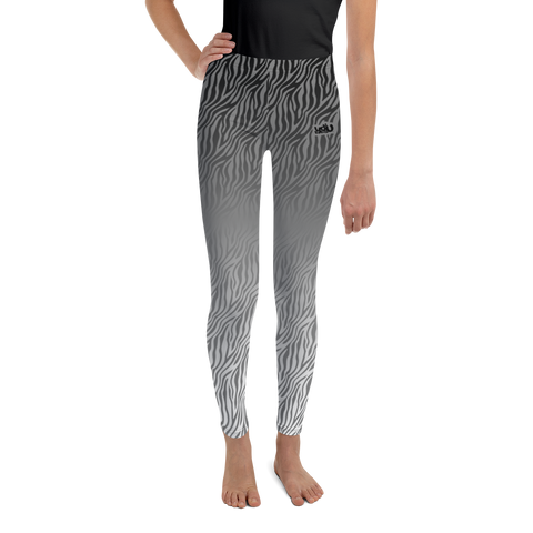 Zebra Print Gray - Youth Leggings (8 - 20)