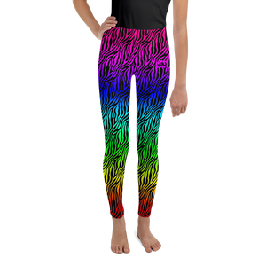 Zebra Print Rainbow - Youth Leggings (8 - 20)