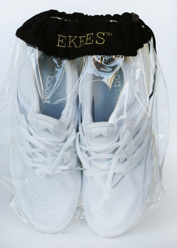 2 EKEES® Clear Shoe Bags - Drawstring, Dust Proof, Protective Storage Bags