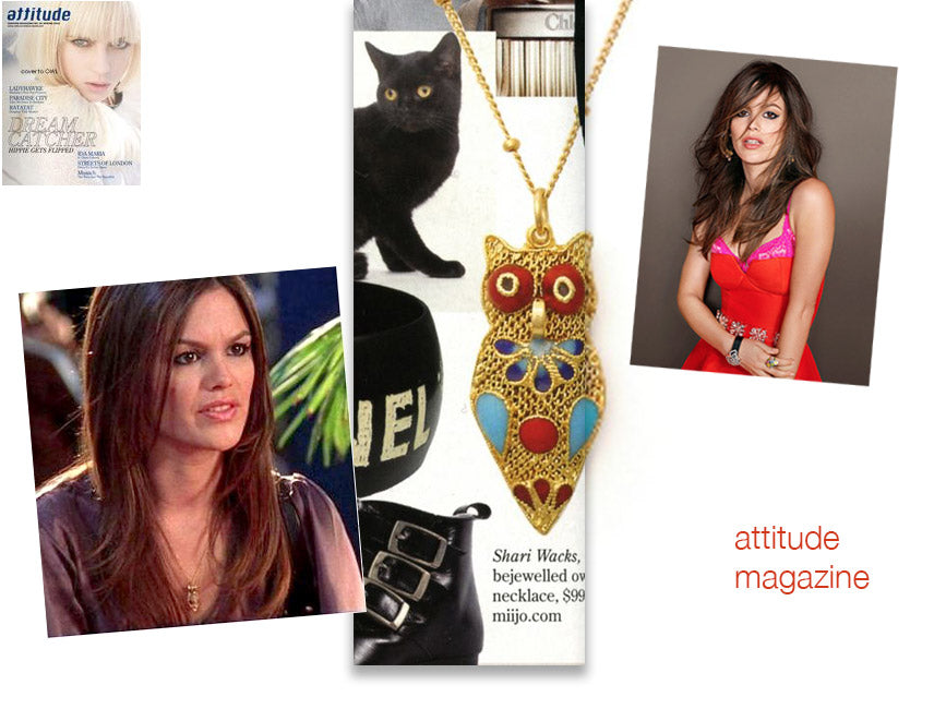 attitude magazine cover and inner article featuring rachel bilson wearing shari wacks gold filigree owl pendant necklace with deep red, royal blue, aqua marine enamel stones