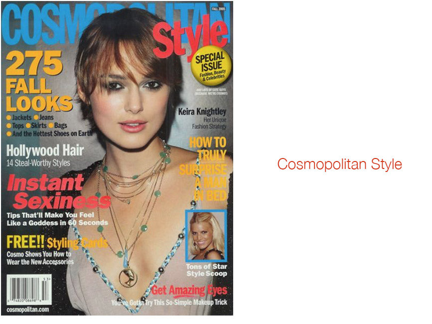 Cosmopolitan Style cover featuring keira knightley wearing shari wacks layered necklaces