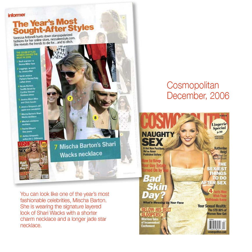 cover of cosomopolitan december 2006 and inner photo article featuring mischa barton wearing shari wacks necklace