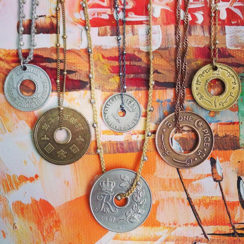 vintage foreign coin necklaces