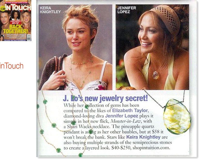 cover of inTouch magazine plus inner article featuring keira knightley and jennifer lopez wearing shari wacks necklaces