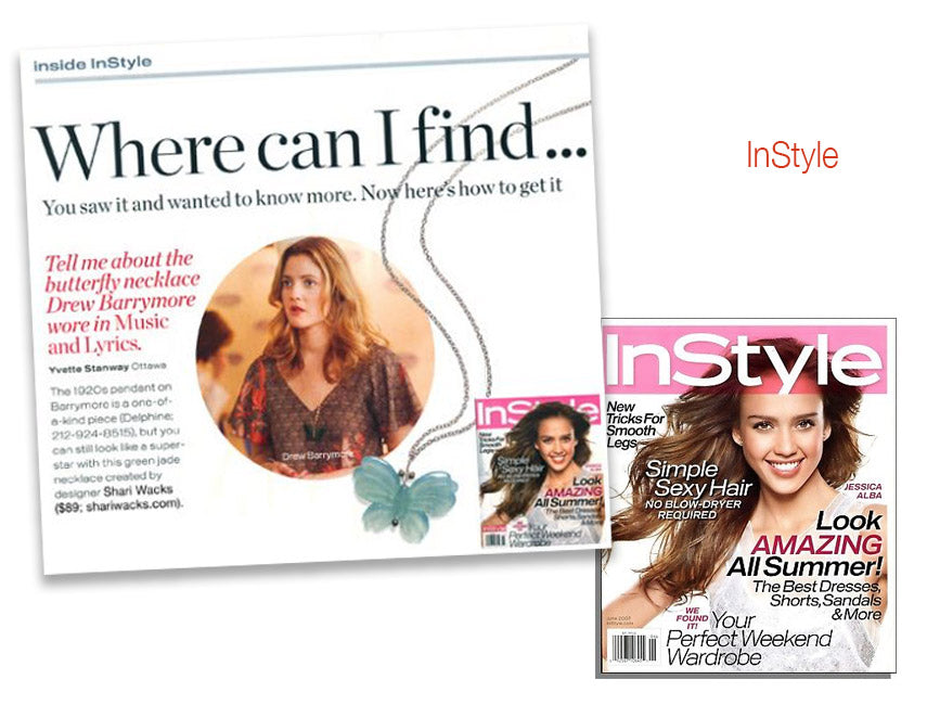cover of InStyle magazine and inside article featuring actress Drew Barrymore wearing butterfly necklace