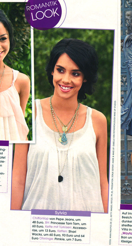 photos of model wearing Shari Wacks jewelry from Life & Style Magazine July 10 2008 issue