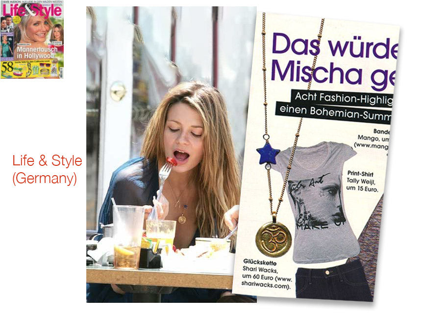 cover of Life and Style magazine and inner article photo spread featuring mischa barton wearing shari wacks ohm coin and lapis necklace