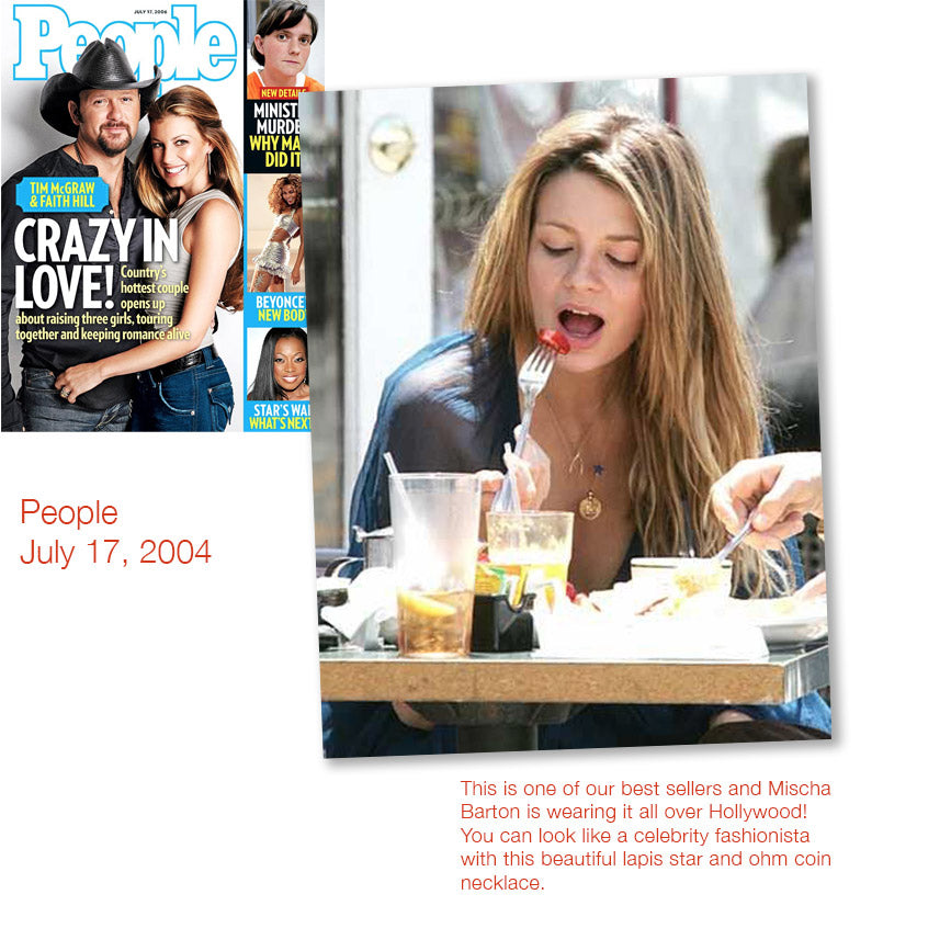 cover of people magazine july 17, 2004 and inner photo spread of mischa barton wearing shari wacks lapis star ohm coin necklace