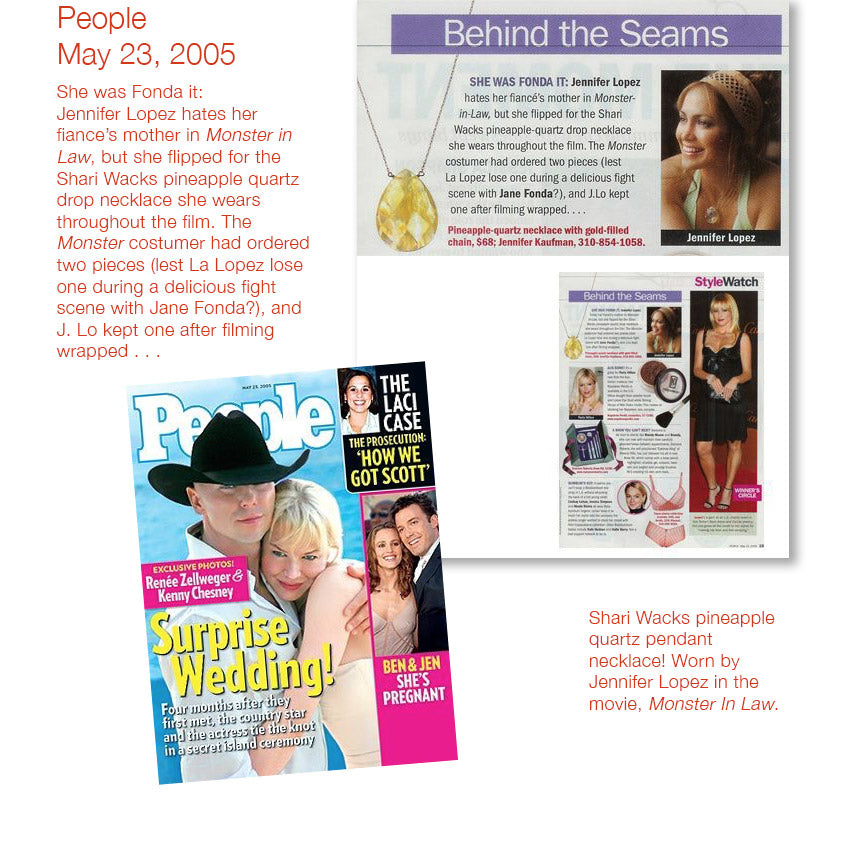 People magazine cover may 23 2005 and inner article featuring jennifer lopez wearing shari wacks pineapple quartz pendant necklace