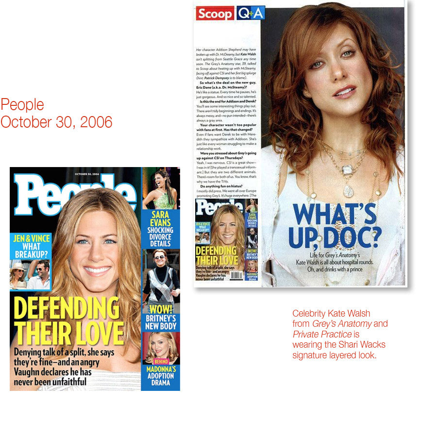 people cover october 30, 2006 and inner article featuring kate walsh wearing shari wacks layered necklaces