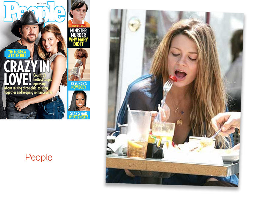 cover of people magazine and inner photo spread of mischa barton wearing shari wacks lapis star ohm coin necklace