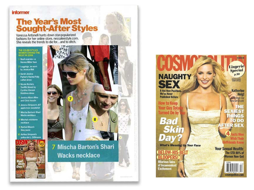 cover of cosomopolitan and inner photo article featuring mischa barton wearing shari wacks necklace