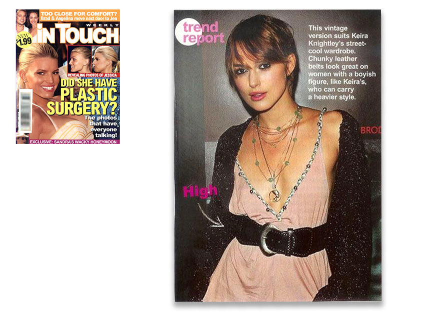 cover of InTouch Weekly and inner article featuring keira knightley wearing shari wacks layered necklaces