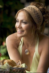 production photo of Jennifer Lopez from Monster-in-Law movie wearing Shari Wacks pineapple quartz necklace