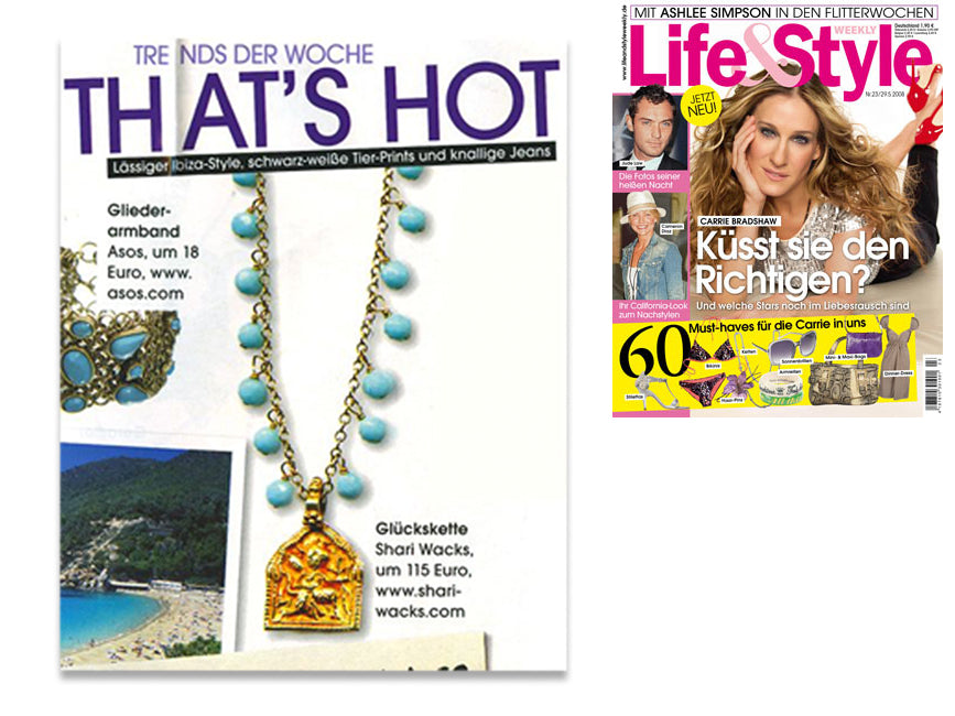 cover of life and style magazine plus inner photo article  featuring shari wacks boho chic necklace with turquoise quartz and hanuman pendant