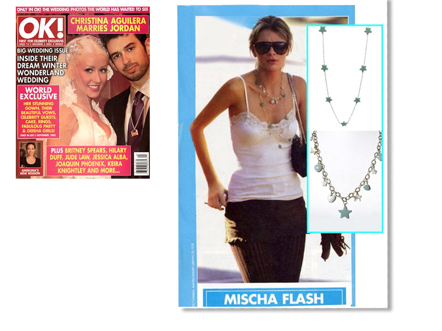 cover of ok magazine and inner article featuring mischa barton wearing shari wacks gold filled green jade star necklace and charm necklace with gold filled chain, amazonite, white agate and mother of pearl star, heart and flowers