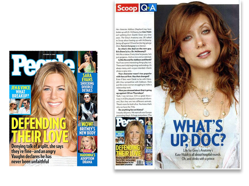 people magazine cover featuring Jennifer Aniston and inner article featuring kate walsh wearing shari wacks layered necklaces
