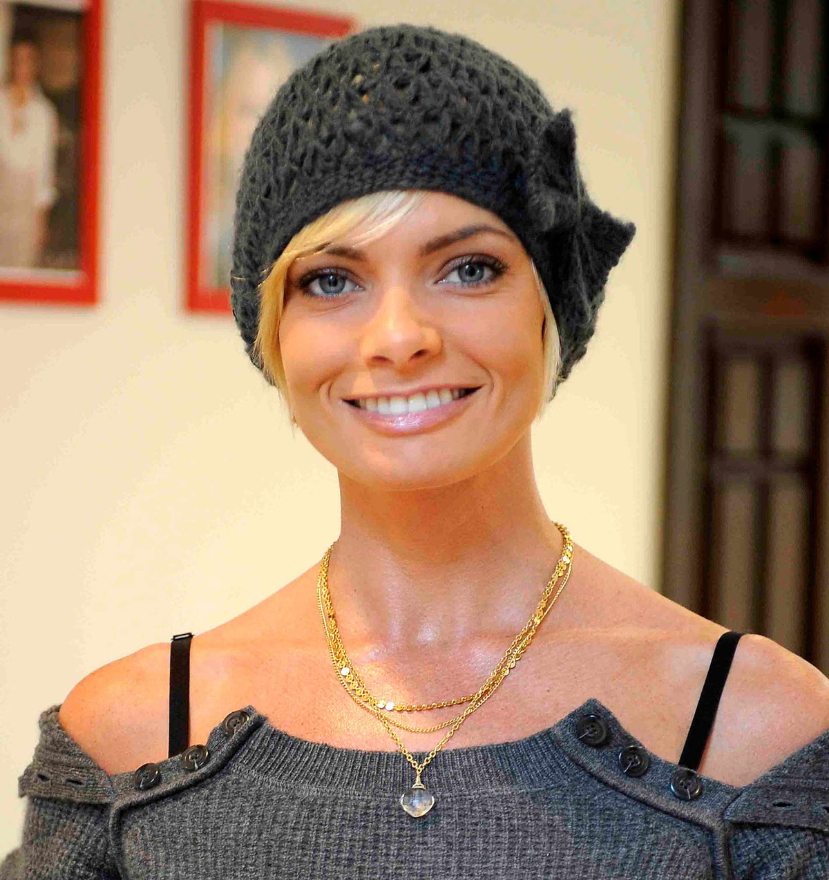 photo of Jaime Pressly wearing three-part shari wacks necklace with crystal quartz drop
