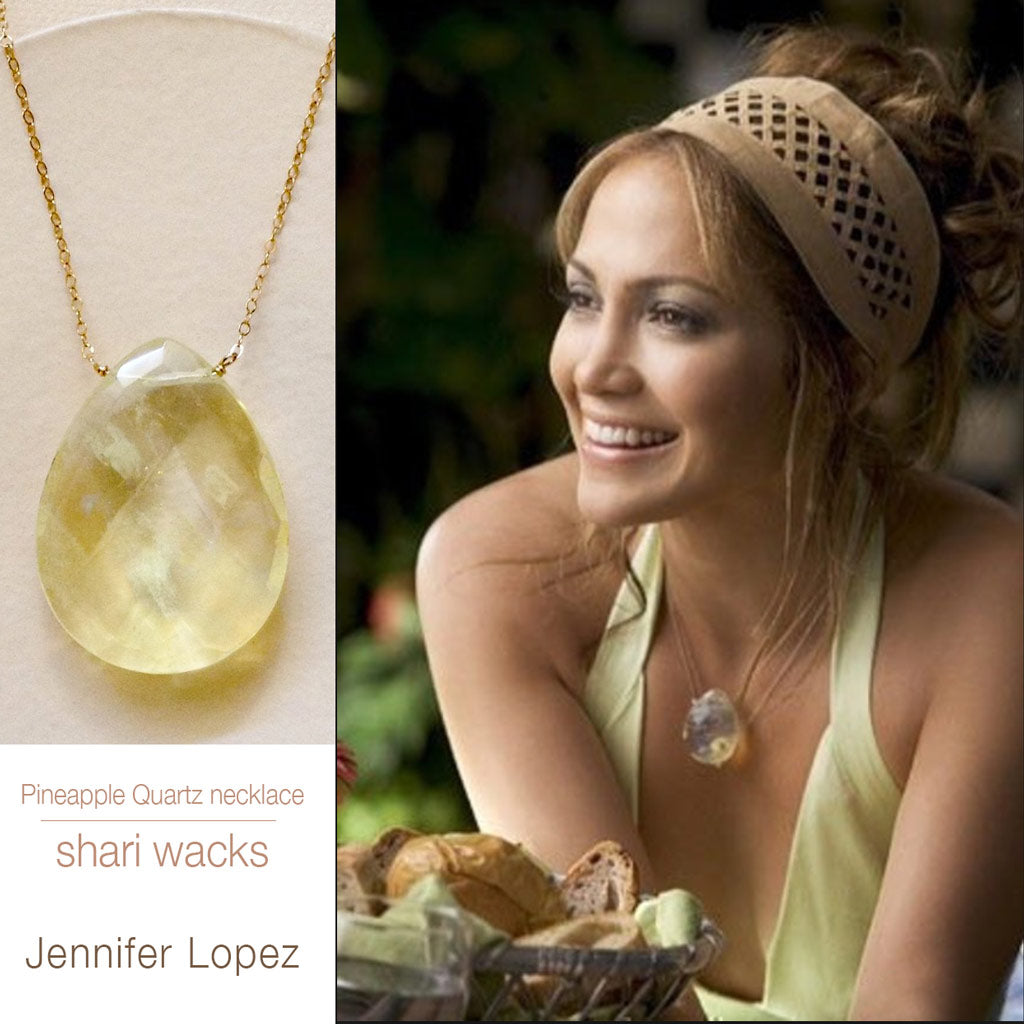 photo of Jennifer Lopez wearing Shari Wacks pineapple quartz necklace in the movie Monster-in-Law